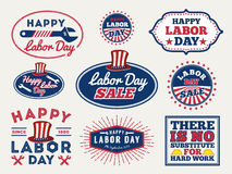 Sets of Labor day badge and labels retro design. Stock Images