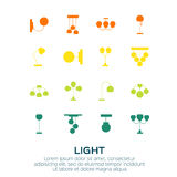 Sets of Lamp. And Chandelier. Light equipment collection. Vector illustration Royalty Free Stock Image