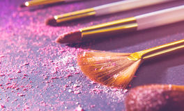 Sets makeup brush Royalty Free Stock Photography