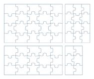 Free Sets Of Puzzle Pieces Vector Illustration. 2 X 3, 3 X 4, 3 X 5, 4 X 5 Jigsaw Game Outline Pieces Picture Royalty Free Stock Photos - 140973168
