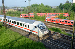 Sets the passenger train in  terminal -  Ulm Royalty Free Stock Image