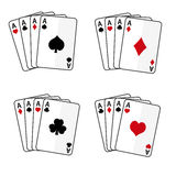 Sets of playing cards with four aces Stock Photos