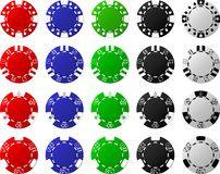 4 Sets of Poker Chips - 5 Pieces Each Royalty Free Stock Photo