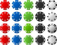4 Sets of Poker Chips - 5 Pieces Each Stock Image