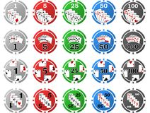 4 Sets of Poker Chips - 5 Pieces Each Stock Photography