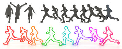 Sets of rough sketch silhouette and colorful running people in 3 Royalty Free Stock Photo