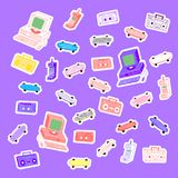 Sets 80`s stickers. Sets 80`s 90`s stickers computers, phones, cassettes, tape recorders, skateboards stock illustration