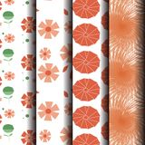 Sets Seamless Orange abstract floral pattern Royalty Free Stock Photos