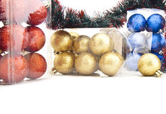 Sets of shining Christmas-tree decorations Stock Photo