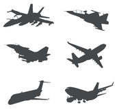 Sets of silhouette Aeroplanes Royalty Free Stock Photography