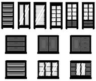 Sets of silhouette cabinets, create by vector Royalty Free Stock Photos