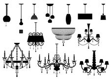 Sets of silhouette Chandelier and lamp Royalty Free Stock Photo