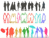 Sets of silhouette and colorful people in 3D Stock Photography