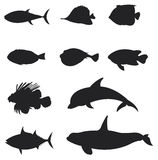 Sets of silhouette Fishes 2 Stock Images