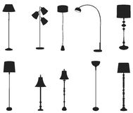 Sets of silhouette floor lamps, create by vector Stock Images