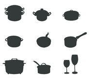 Sets of silhouette kitchen tools 2 Stock Photo