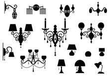 Sets of silhouette Lamp and Chandelier Stock Photos