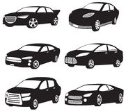 Sets of silhouette of my original model cars Royalty Free Stock Photo