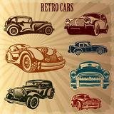 Sets of silhouette retro cars. The sets of silhouette retro cars Stock Images