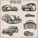 Sets of silhouette retro cars. The sets of silhouette retro cars Stock Image