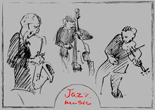 Sets of the sketched musicians. Handdrawn illustration Stock Images