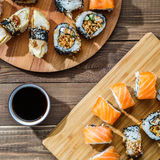 Sets of sushi on boards Stock Photos
