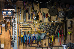 Sets of tools for repair in garage Stock Images