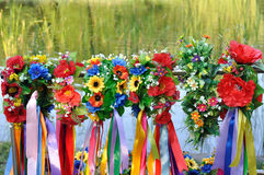 Sets of Ukrainian traditional wreaths Royalty Free Stock Photography