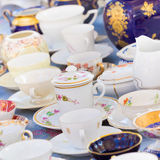 Sets of vintage china cups. Royalty Free Stock Photography