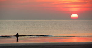 Setsell beach. Old sunset on the sea Royalty Free Stock Photography