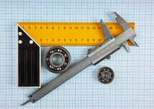 Setsquare and calliper with bearing Stock Photography