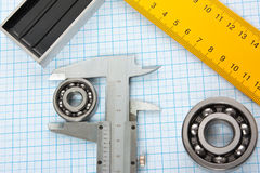 Setsquare and calliper with bearing Royalty Free Stock Images