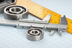 Setsquare and calliper with bearing Stock Images