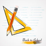 Setsquarelinjal och blyertspenna Arkivfoto