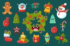 Sett för komiska tecken för julsymboler, för feriegarnering för lyckligt nytt år beståndsdelar med den roliga framsidavektorn Arkivfoto