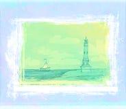 sett mycket litet för strandgrungefyr affisch Arkivfoto