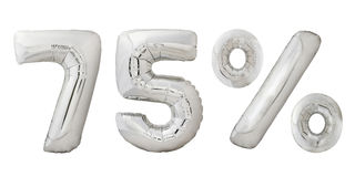 Settantacinque palloni metallici del cromo di per cento Fotografia Stock
