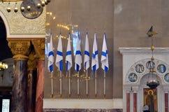 Sette bandiere del ` s di St Andrew in cattedrale navale Immagine Stock Libera da Diritti