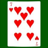Sette cuori Cardi il vettore dell'icona del vestito, vettore di simboli delle carte da gioco illustrazione di stock