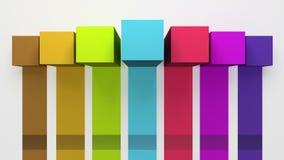 Sette 3D quadrano il grafico della casella titolo di introduzione, modello della presentazione di PowerPoint versione 4 royalty illustrazione gratis