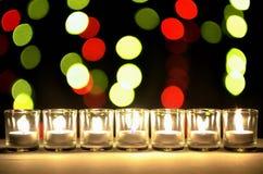 Sette di piccoli vetri che hanno lampade piccole di un'illuminazione dentro la a immagine stock libera da diritti