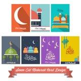 Sette Eid Mubarak Flat Design Card Immagini Stock