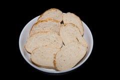 Sette fette di pane crostoso Fotografia Stock