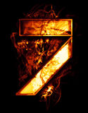 Sette, illustrazione del numero con gli effetti del cromo e fuoco rosso Immagini Stock