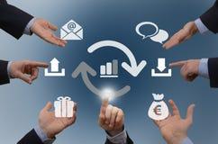 Sette mani con shareconomy/scambio - illustrazione Immagine Stock Libera da Diritti