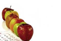 Sette mele un la settimana per il cibo sano Fotografia Stock Libera da Diritti