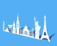 Sette meraviglie del fondo del mondo, di viaggio e di turismo intorno al mondo illustrazione di stock