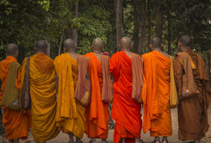 Sette monaci in Cambodja Immagini Stock Libere da Diritti