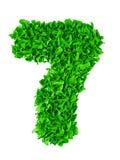 sette Numero fatto a mano 7 dai residui di carta verdi Fotografie Stock Libere da Diritti