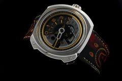 Sette orologi automatici di venerdì nel chiaro fondo nero immagine stock